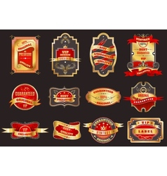 Golden retro labels emblems collection vector