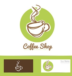 Coffee shop stylized hand drawing logo cup vector