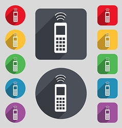 Remote control icon sign a set of 12 colored vector