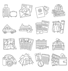 Vacation travel icons set line vector
