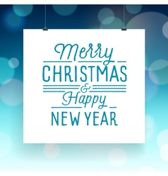 Slogan poster xmas merry blue vector