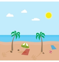Tropic scene of sunny beach with different objects vector