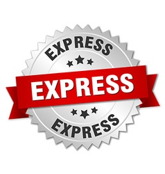 Express 3d silver badge with red ribbon vector