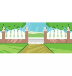 abstract yard with green garden vector image vector image