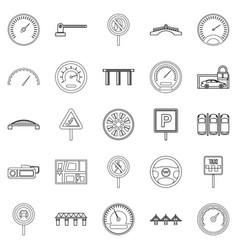 Asphalt icons set outline style vector