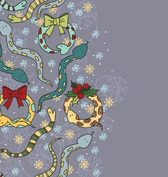 Beautiful background with snakes and snowflakes vector