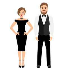 Beautiful couple in official style outfit vector