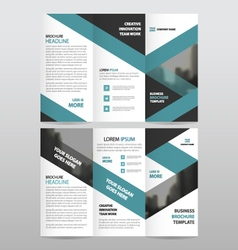 Blue triangle business trifold leaflet brochure vector