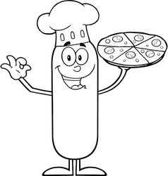 Chef Sausage Cartoon with Pizza vector image vector image