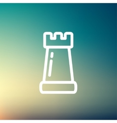 Chess Rook thin line icon vector image