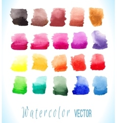 Colorful watercolor splashes isolated on white vector