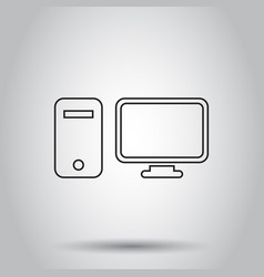 computer monitor in line style icon on isolated vector image vector image