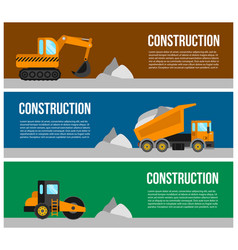 Construction machine web banner concept vector