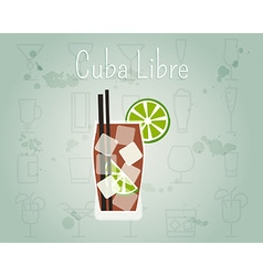 Cuba libre cocktail banner and poster template vector