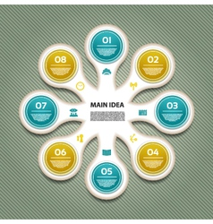Cyclic diagram with eight steps and icons eps 10 vector image vector image