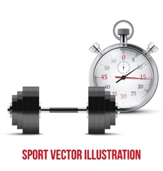 dumbbell and stopwatch vector image vector image