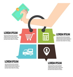E-commerce infographic template with bag concept vector
