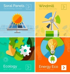 Eco-friendly energy flat design concepts banners vector image vector image
