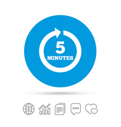 every 5 minutes sign icon full rotation arrow vector image vector image