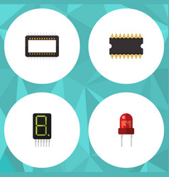 Flat icon electronics set of mainframe display vector