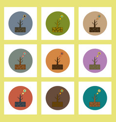 Flat icons set of drought and dead tree concept on vector