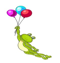 Flying green frog with three colored balloons vector