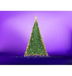 Golden christmas tree on violet EPS 10 vector image