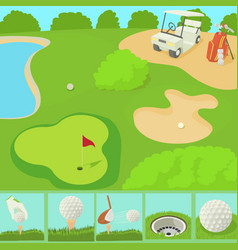 Golf field concept cartoon style vector
