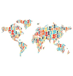 group people silhouettes planet vector image vector image