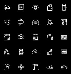 Hitechnology line icons on black background vector image