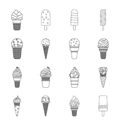 Ice cream set icons in outline style big vector