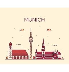 Munich skyline linear style vector