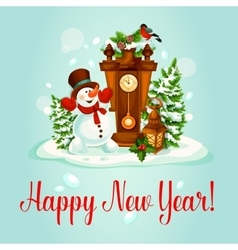 New Year greeting card with snowman and clock vector image