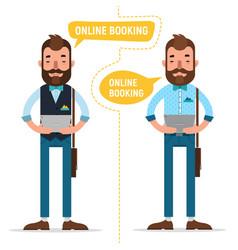 Online booking man making online order vector