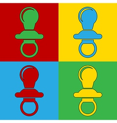 Pop art baby pacifier icons vector