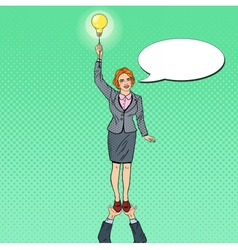 Pop art business woman with lightbulb team work vector
