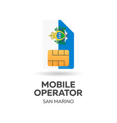 San marino mobile operator sim card with flag vector