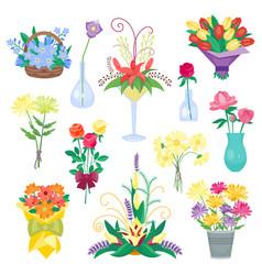 Set of vintage floral bouquet garden vector