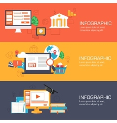 set of web internet technology of business online vector image vector image