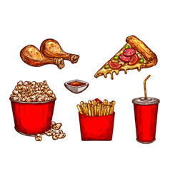 Sketch icons fast food snacks and drinks vector
