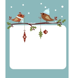 template of christmas card with birds vector image