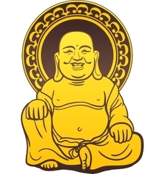 Thai buddha golden statue vector
