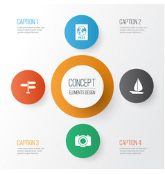 Traveling icons set collection of camera vector