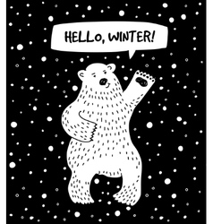 White bear with snow and sign hello winter vector
