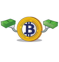 With money bitcoin gold character cartoon vector