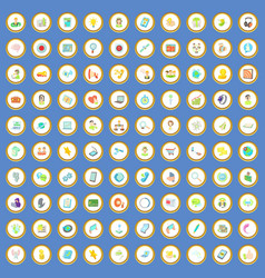 100 call service icons set cartoon vector