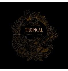Topical Fruits And Plants Dark Logo Hand Drawn vector image