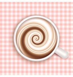Coffee with milk full cup top view vector