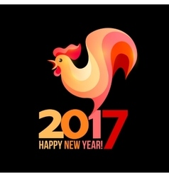 Colorful poster of a rooster isolated on black vector image