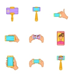 Photography on smartphone icons set cartoon style vector